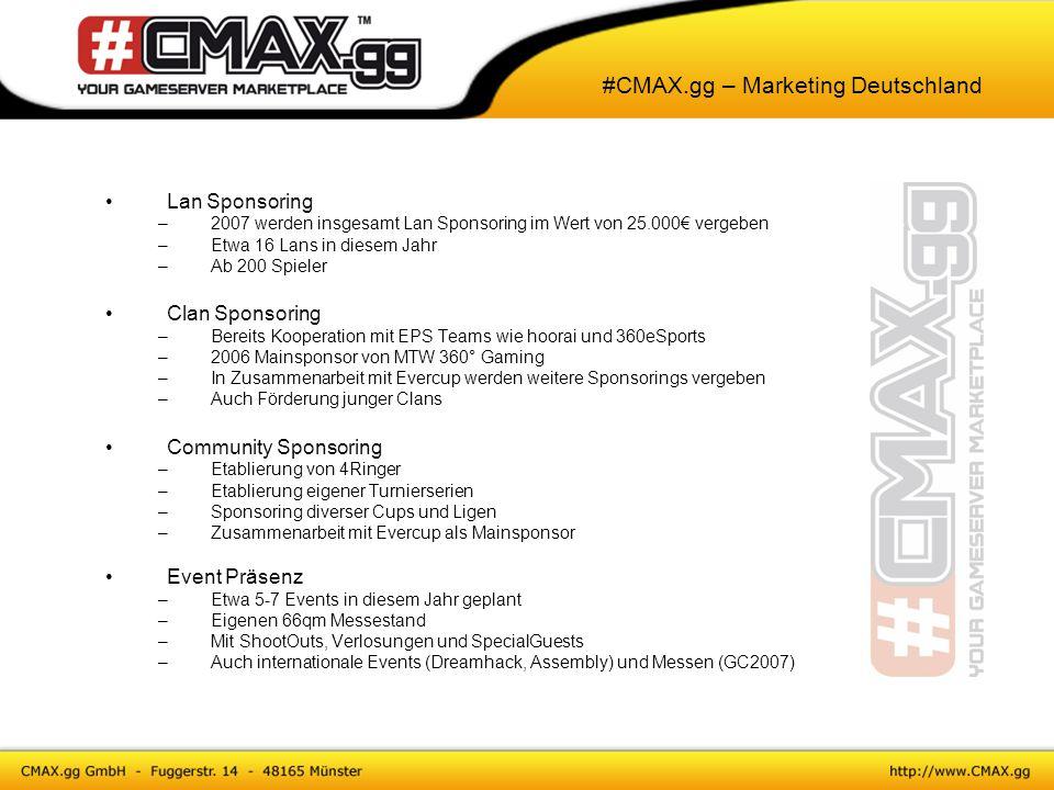 #CMAX.gg – Marketing Deutschland Lan Sponsoring –2007 werden insgesamt Lan Sponsoring im Wert von 25.000€ vergeben –Etwa 16 Lans in diesem Jahr –Ab 20