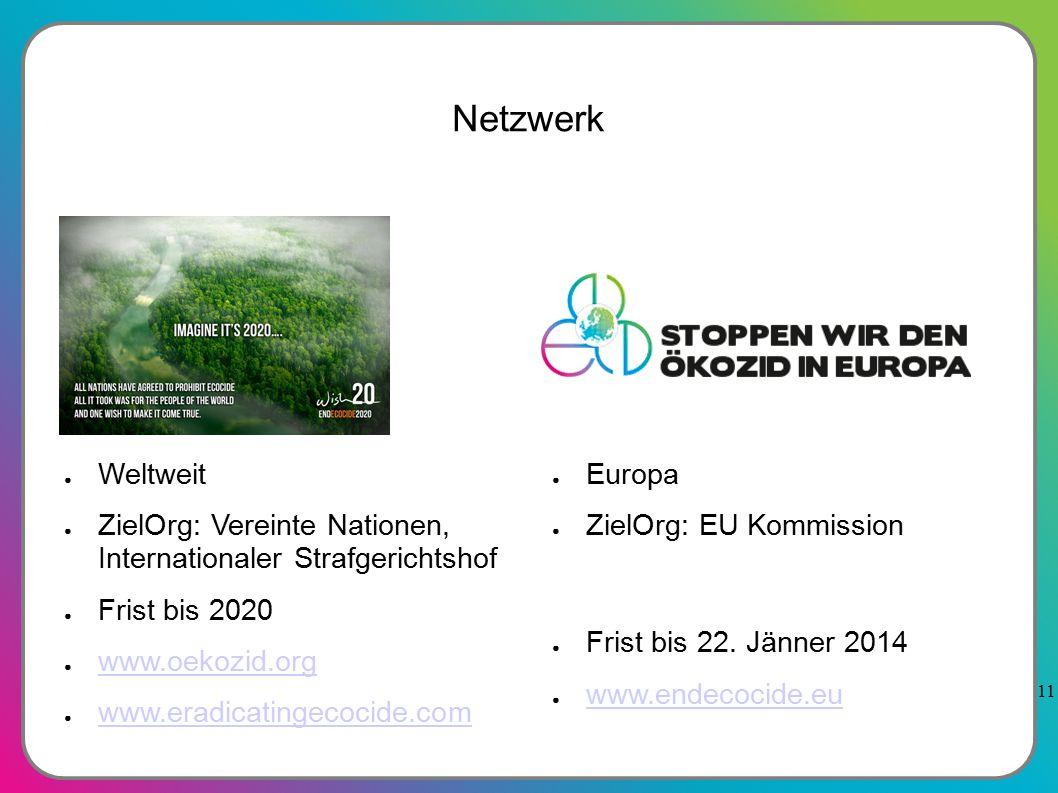 11 Netzwerk ● Europa ● ZielOrg: EU Kommission ● Frist bis 22.