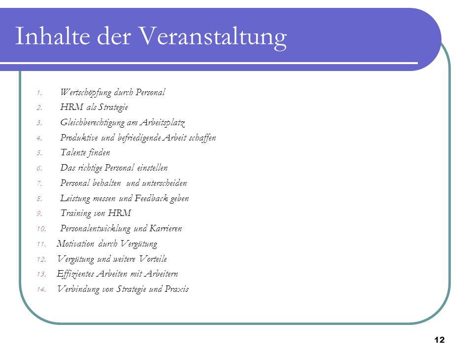 Inhalte der Veranstaltung 1. Wertschöpfung durch Personal 2. HRM als Strategie 3. Gleichberechtigung am Arbeitsplatz 4. Produktive und befriedigende A