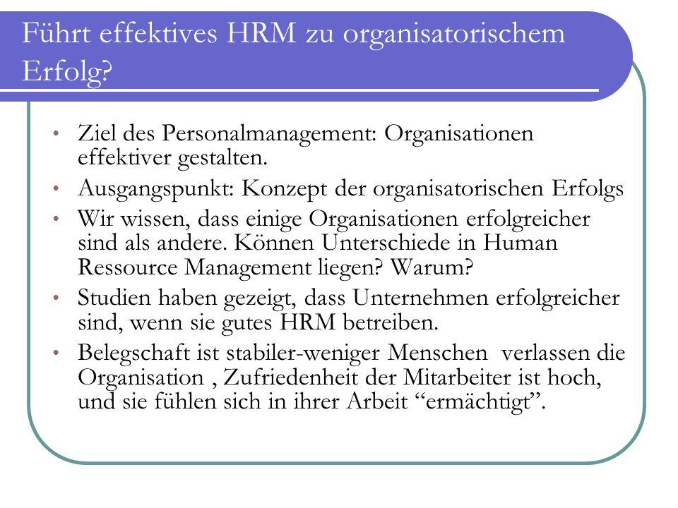 Führt effektives HRM zu organisatorischem Erfolg? Ziel des Personalmanagement: Organisationen effektiver gestalten. Ausgangspunkt: Konzept der organis