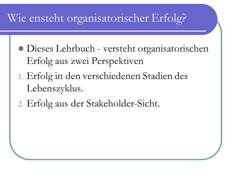 Wie ensteht organisatorischer Erfolg? Dieses Lehrbuch - versteht organisatorischen Erfolg aus zwei Perspektiven 1. Erfolg in den verschiedenen Stadien
