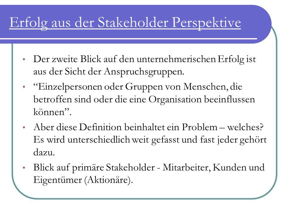 """Erfolg aus der Stakeholder Perspektive Der zweite Blick auf den unternehmerischen Erfolg ist aus der Sicht der Anspruchsgruppen. """"Einzelpersonen oder"""