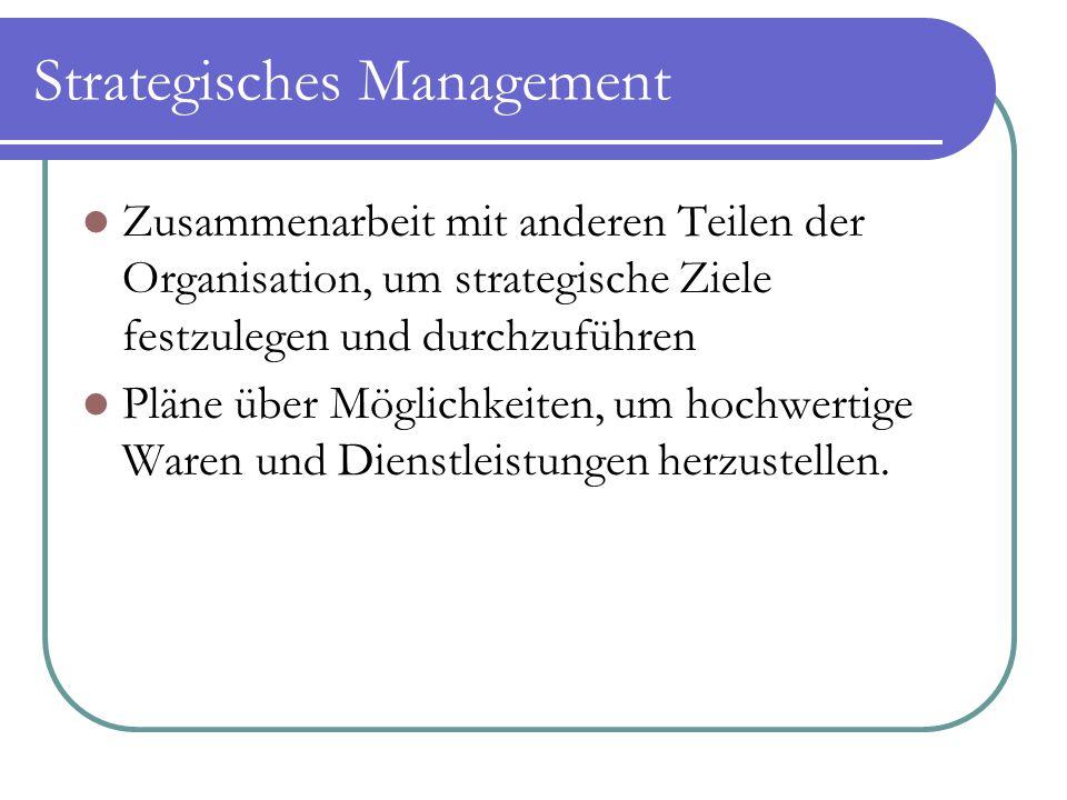 Strategisches Management Zusammenarbeit mit anderen Teilen der Organisation, um strategische Ziele festzulegen und durchzuführen Pläne über Möglichkei