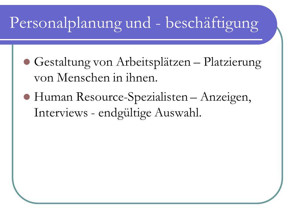 Personalplanung und - beschäftigung Gestaltung von Arbeitsplätzen – Platzierung von Menschen in ihnen. Human Resource-Spezialisten – Anzeigen, Intervi