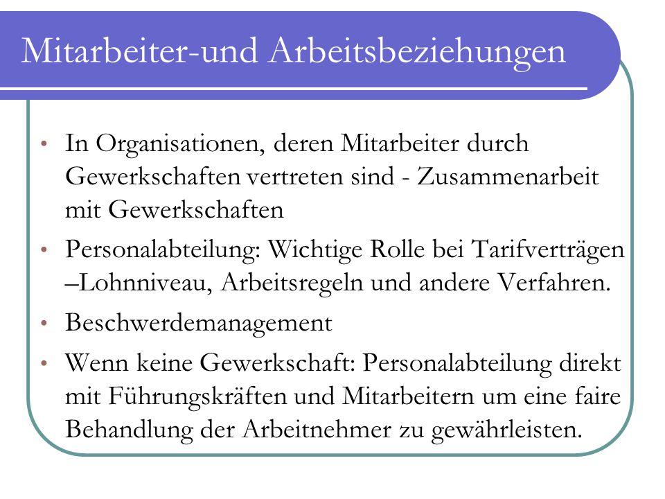 Mitarbeiter-und Arbeitsbeziehungen In Organisationen, deren Mitarbeiter durch Gewerkschaften vertreten sind - Zusammenarbeit mit Gewerkschaften Person