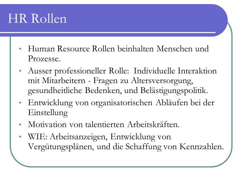Human Resource Rollen beinhalten Menschen und Prozesse. Ausser professioneller Rolle: Individuelle Interaktion mit Mitarbeitern - Fragen zu Altersvers