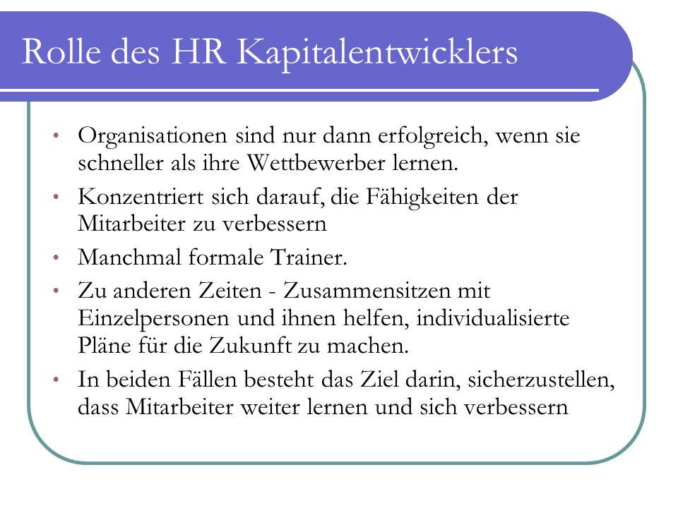Rolle des HR Kapitalentwicklers Organisationen sind nur dann erfolgreich, wenn sie schneller als ihre Wettbewerber lernen. Konzentriert sich darauf, d