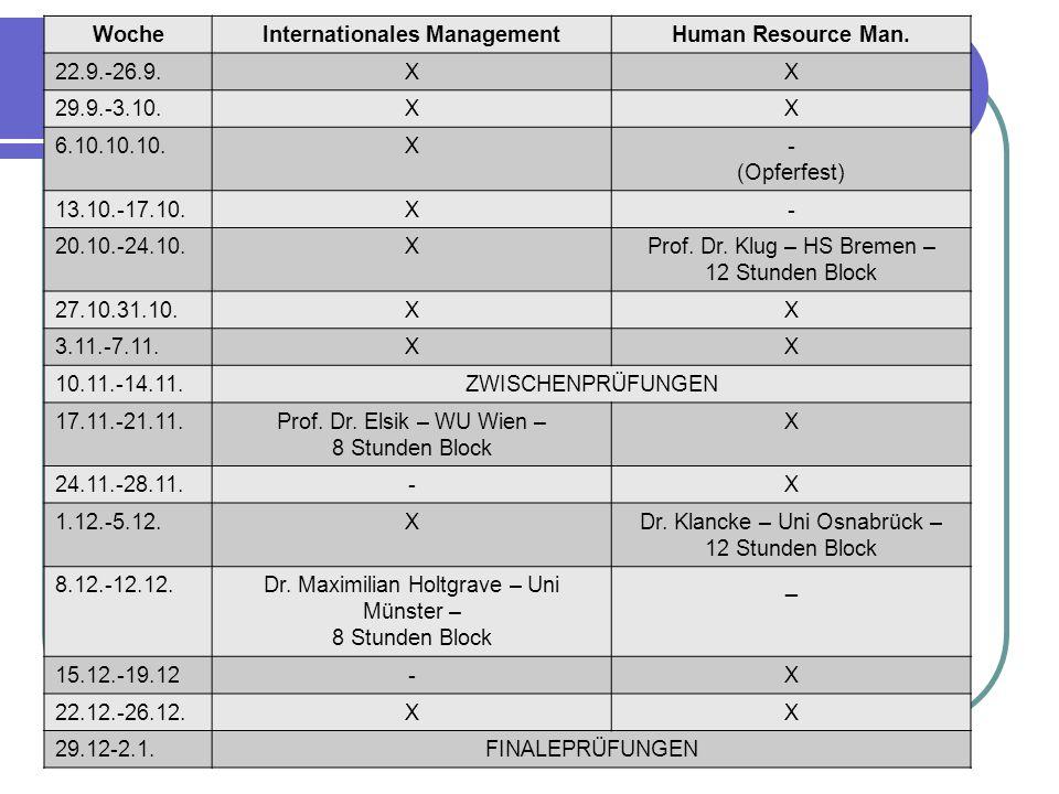 WocheInternationales ManagementHuman Resource Man. 22.9.-26.9.XX 29.9.-3.10.XX 6.10.10.10.X- (Opferfest) 13.10.-17.10.X- 20.10.-24.10.XProf. Dr. Klug