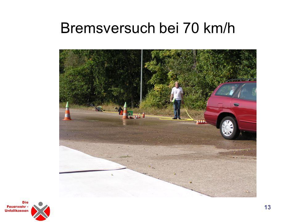 Die Feuerwehr - Unfallkassen Anhalteweg = 12 Reaktionsweg+Bremsweg Fahrzeug fährt 50 km/h Fahrzeug fährt 70 km/h 15 m + 25 m = 40 m 21 m + 49 m = 70 m