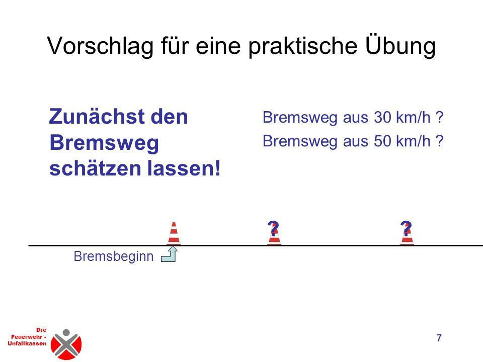 Die Feuerwehr - Unfallkassen Vorschlag für eine praktische Übung 7 Bremsbeginn Bremsweg aus 30 km/h .