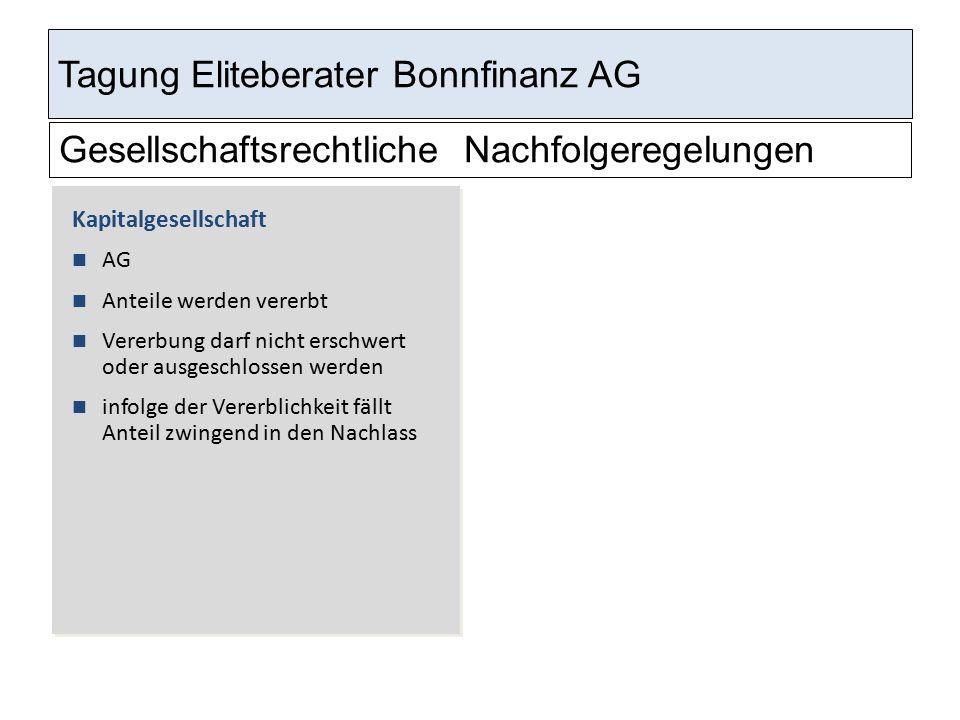 Tagung Eliteberater Bonnfinanz AG Gesellschaftsrechtliche Nachfolgeregelungen Kapitalgesellschaft AG Anteile werden vererbt Vererbung darf nicht ersch