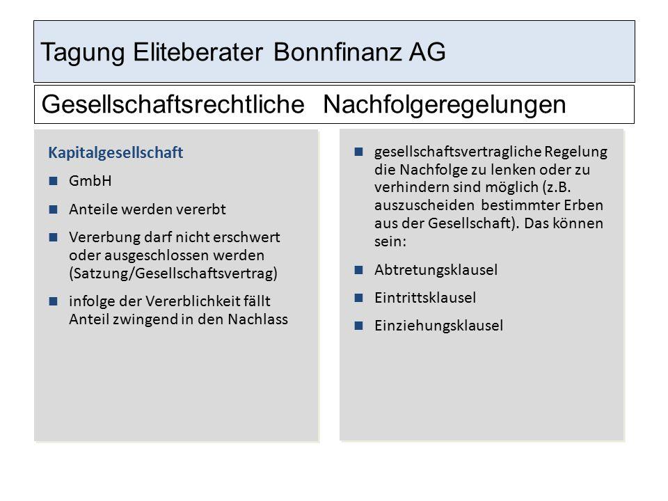 Tagung Eliteberater Bonnfinanz AG Gesellschaftsrechtliche Nachfolgeregelungen Kapitalgesellschaft GmbH Anteile werden vererbt Vererbung darf nicht ers