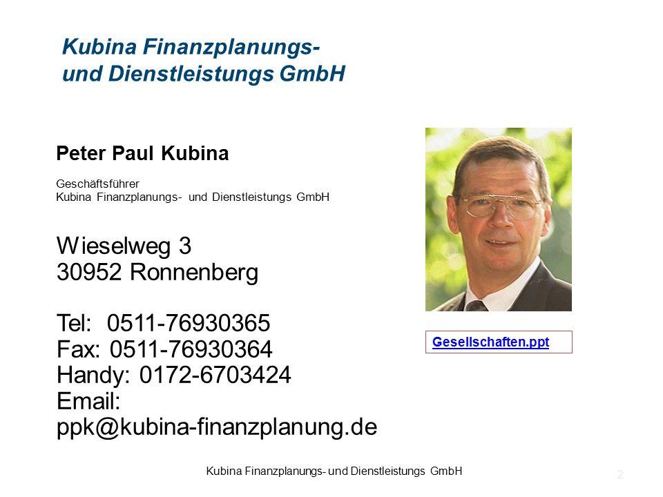 Peter Paul Kubina Geschäftsführer Kubina Finanzplanungs- und Dienstleistungs GmbH Wieselweg 3 30952 Ronnenberg Tel: 0511-76930365 Fax: 0511-76930364 H