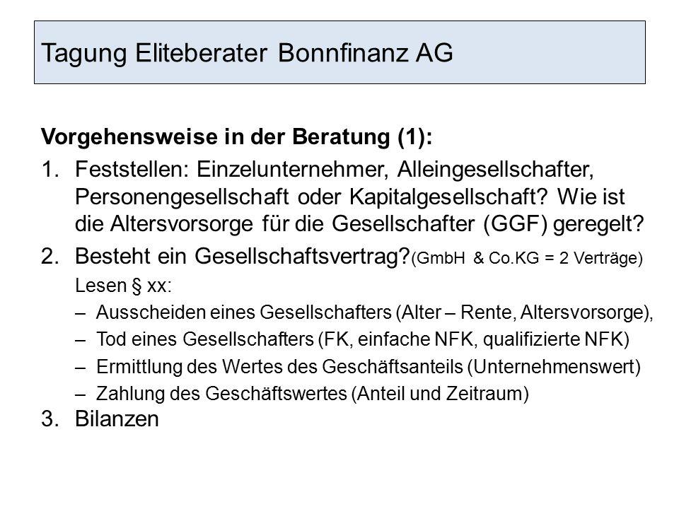 Tagung Eliteberater Bonnfinanz AG Vorgehensweise in der Beratung (1): 1.Feststellen: Einzelunternehmer, Alleingesellschafter, Personengesellschaft ode