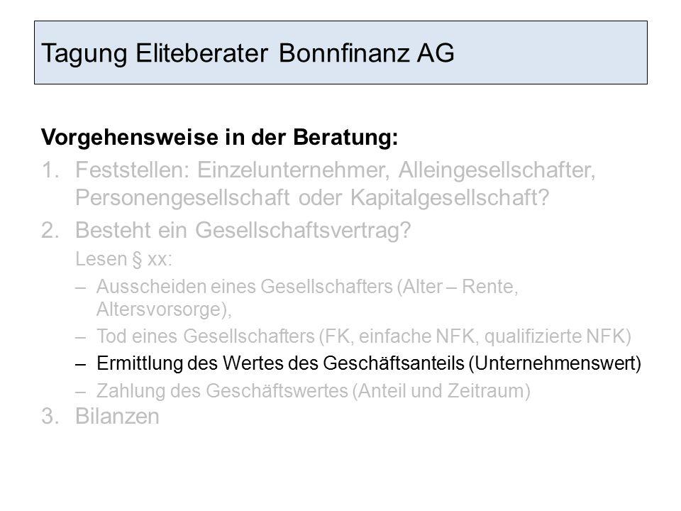 Tagung Eliteberater Bonnfinanz AG Vorgehensweise in der Beratung: 1.Feststellen: Einzelunternehmer, Alleingesellschafter, Personengesellschaft oder Ka