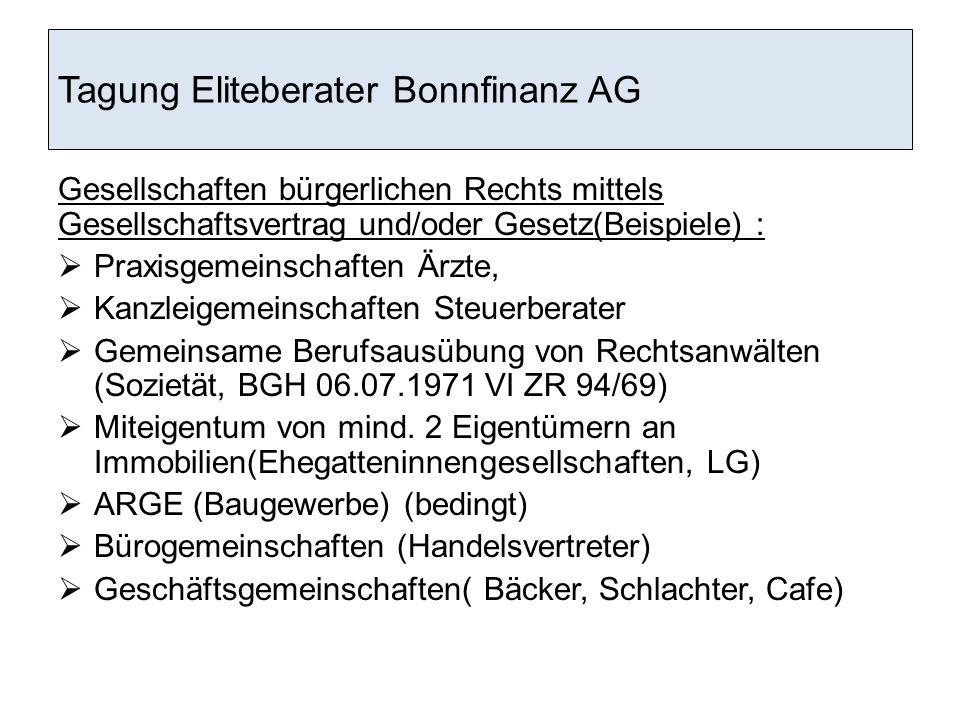 Tagung Eliteberater Bonnfinanz AG § 6 Stirbt ein Gesellschafter, so übernehmen die verbleibenden Gesellschafter den Geschäftsanteil.