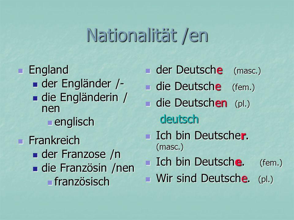 Nationalität /en Ich (bin) komme aus Kanada.Ich (bin) komme aus Kanada.