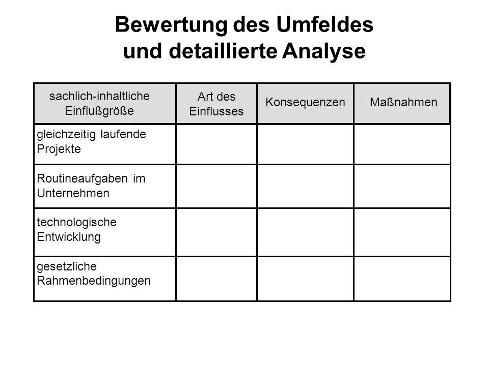 Ableitung von Maßnahmen Die durchgeführte Analyse diente somit zum einen der möglichst vollständigen Erfassung der Umfeldgruppen und zum anderen der Schwerpunktsetzung durch eine Bewertung.