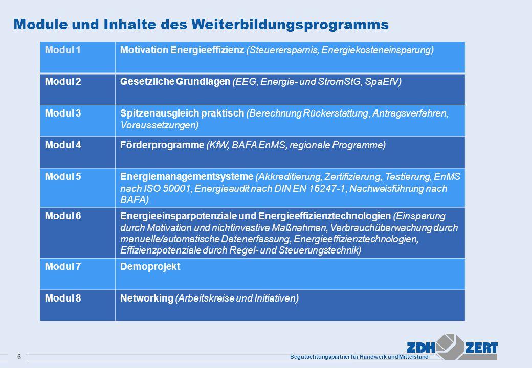 Begutachtungspartner für Handwerk und Mittelstand 6 Module und Inhalte des Weiterbildungsprogramms Modul 1Motivation Energieeffizienz (Steuerersparnis