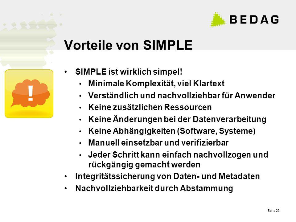 Seite 23 Vorteile von SIMPLE SIMPLE ist wirklich simpel.
