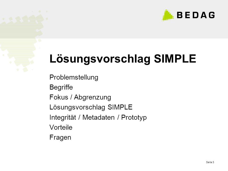 Seite 3 Lösungsvorschlag SIMPLE Problemstellung Begriffe Fokus / Abgrenzung Lösungsvorschlag SIMPLE Integrität / Metadaten / Prototyp Vorteile Fragen