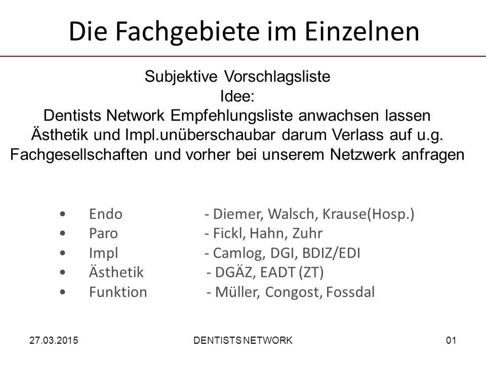 Endo - Diemer, Walsch, Krause(Hosp.) Paro - Fickl, Hahn, Zuhr Impl- Camlog, DGI, BDIZ/EDI Ästhetik - DGÄZ, EADT (ZT) Funktion - Müller, Congost, Fossdal Subjektive Vorschlagsliste Idee: Dentists Network Empfehlungsliste anwachsen lassen Ästhetik und Impl.unüberschaubar darum Verlass auf u.g.