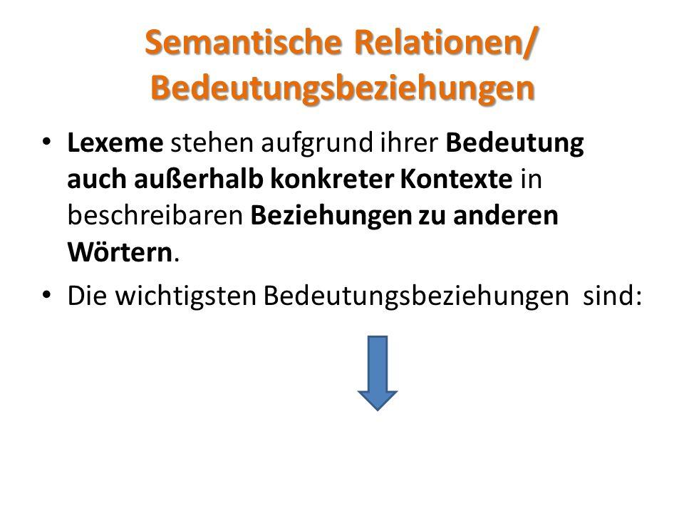 Semantische Relationen – die Übereinstimmung – die Über-oder Unterordnung – der Gegensatz – die Reihung zwischen den jeweiligen Lexemen – die Ambiguität (Mehrdeutigkeit)