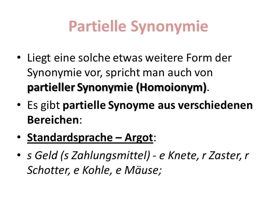 Partielle Synonymie Derbe vs.gehobene Sprache s Gesicht, e Visage, e Fresse,s Antlitz Fachwort vs.