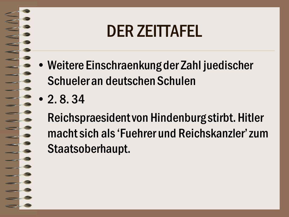 DER ZEITTAFEL Weitere Einschraenkung der Zahl juedischer Schueler an deutschen Schulen 2.