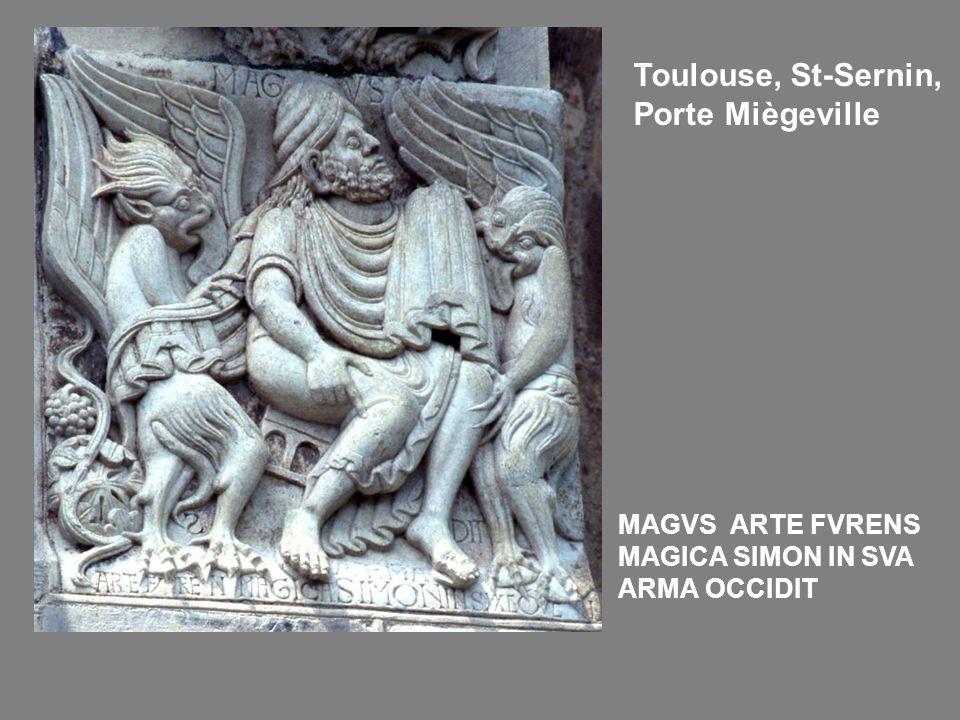 Toulouse, St-Sernin, Porte Miègeville MAGVS ARTE FVRENS MAGICA SIMON IN SVA ARMA OCCIDIT