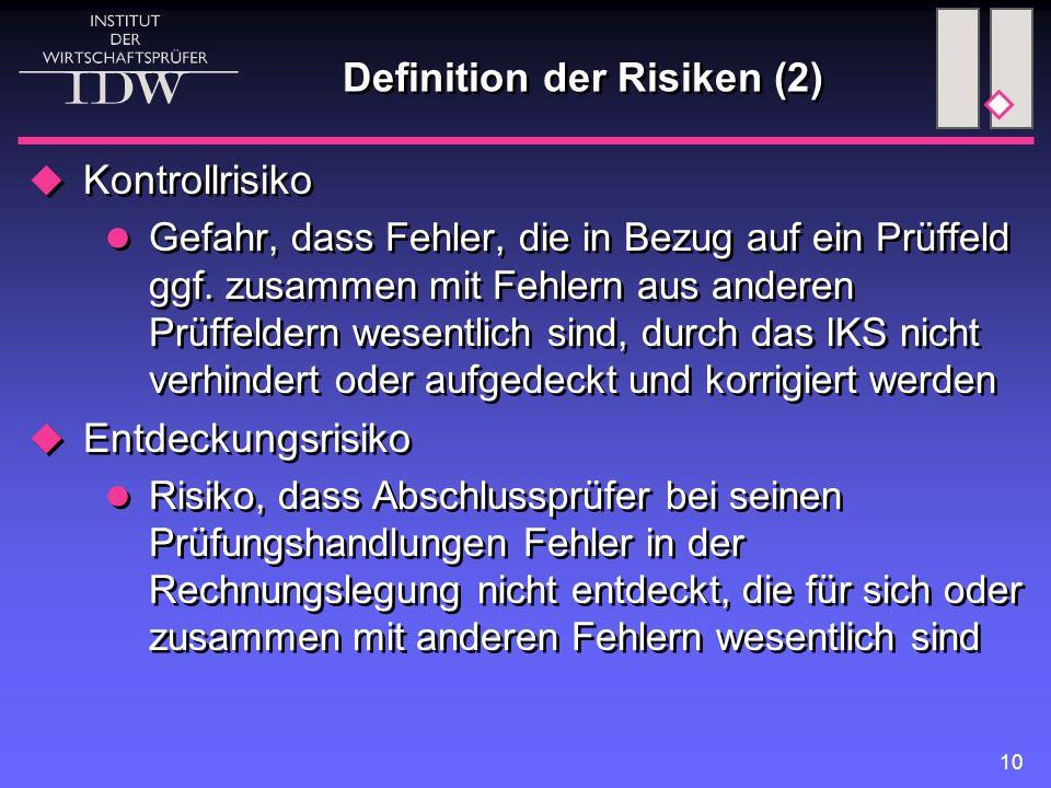 10 Definition der Risiken (2)  Kontrollrisiko Gefahr, dass Fehler, die in Bezug auf ein Prüffeld ggf. zusammen mit Fehlern aus anderen Prüffeldern we