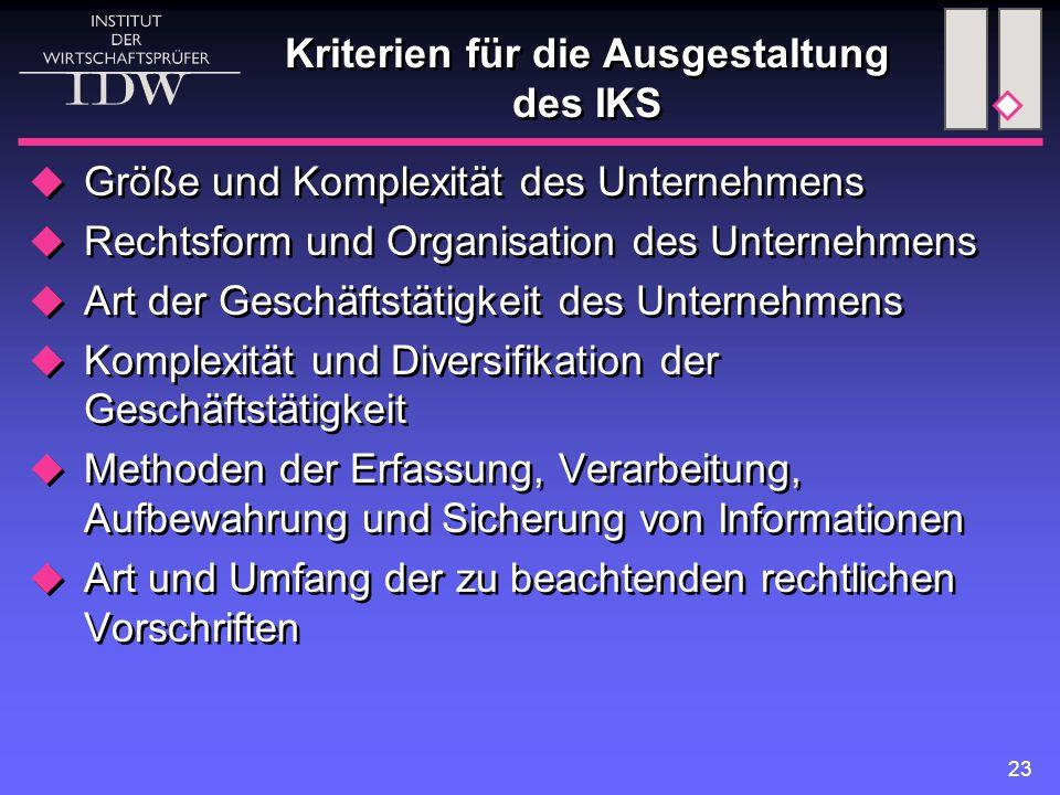 23 Kriterien für die Ausgestaltung des IKS  Größe und Komplexität des Unternehmens  Rechtsform und Organisation des Unternehmens  Art der Geschäfts