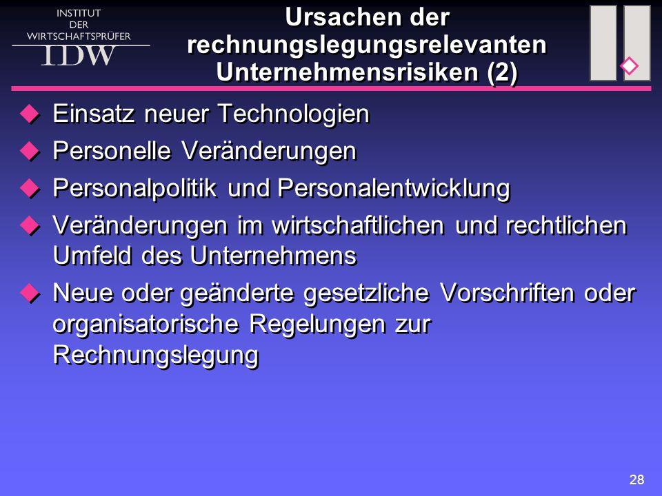 28  Einsatz neuer Technologien  Personelle Veränderungen  Personalpolitik und Personalentwicklung  Veränderungen im wirtschaftlichen und rechtlich