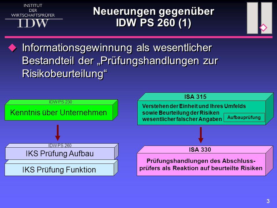 """3 Neuerungen gegenüber IDW PS 260 (1)  Informationsgewinnung als wesentlicher Bestandteil der """"Prüfungshandlungen zur Risikobeurteilung"""" Kenntnis übe"""