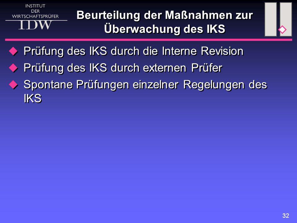 32 Beurteilung der Maßnahmen zur Überwachung des IKS  Prüfung des IKS durch die Interne Revision  Prüfung des IKS durch externen Prüfer  Spontane P