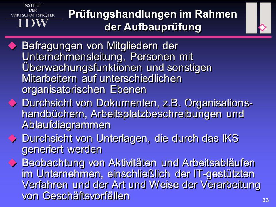 33 Prüfungshandlungen im Rahmen der Aufbauprüfung  Befragungen von Mitgliedern der Unternehmensleitung, Personen mit Überwachungsfunktionen und sonst