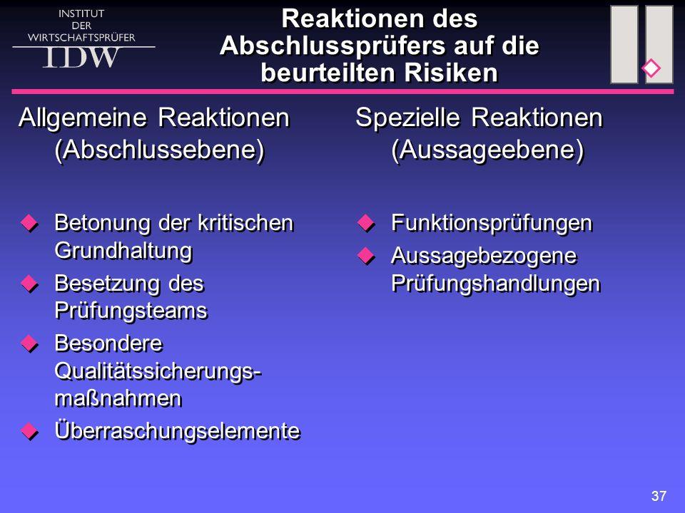 37 Reaktionen des Abschlussprüfers auf die beurteilten Risiken Allgemeine Reaktionen (Abschlussebene)  Betonung der kritischen Grundhaltung  Besetzu