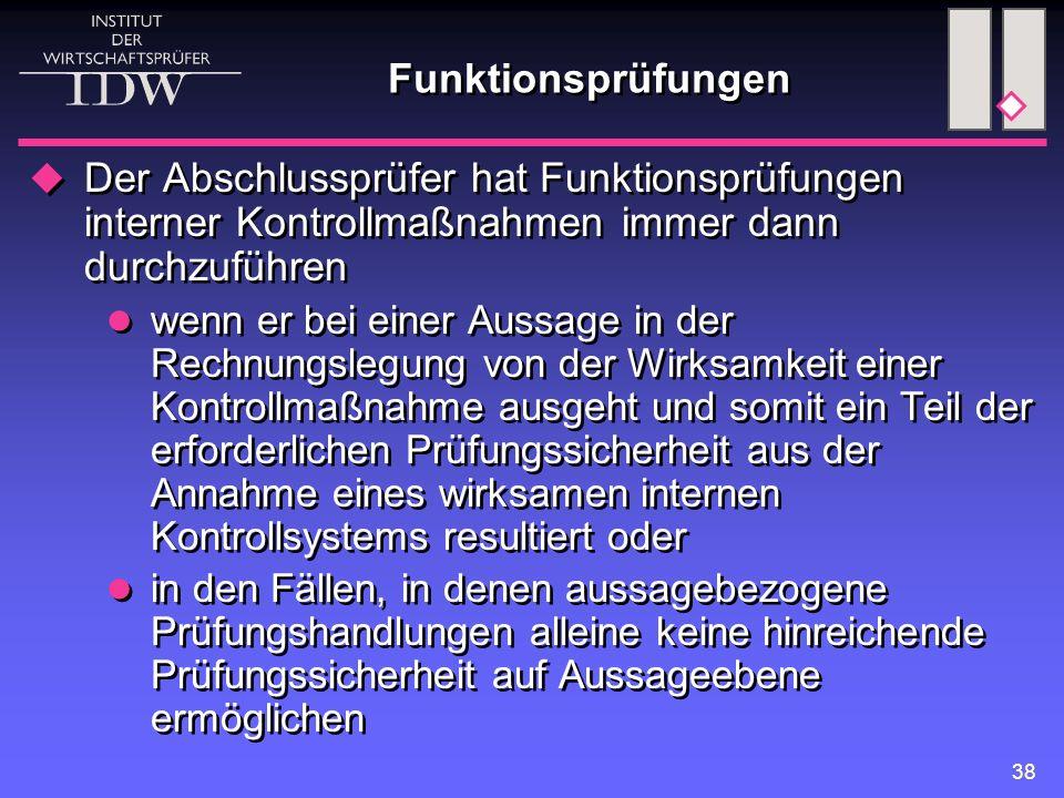 38 Funktionsprüfungen  Der Abschlussprüfer hat Funktionsprüfungen interner Kontrollmaßnahmen immer dann durchzuführen wenn er bei einer Aussage in de