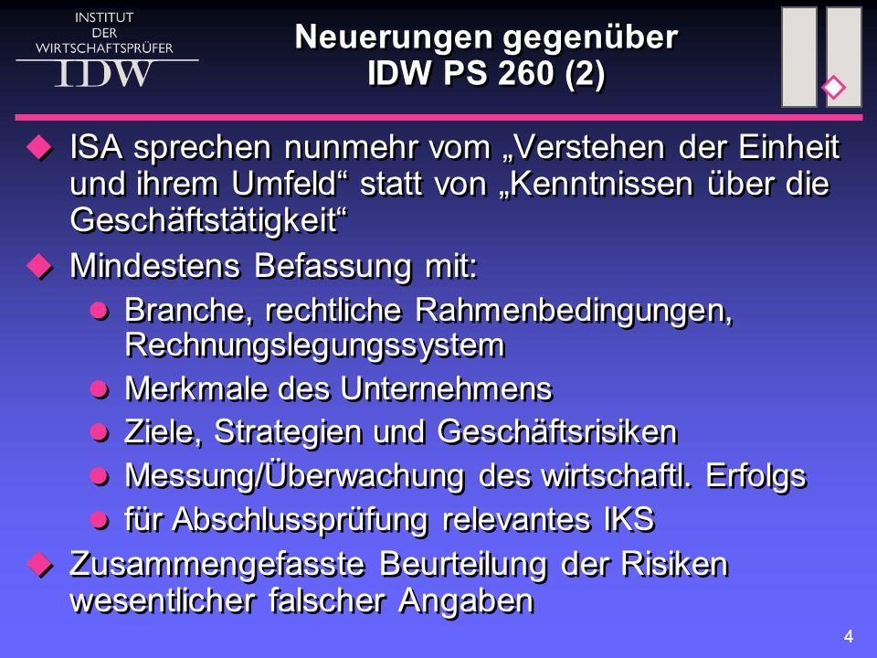"""4 Neuerungen gegenüber IDW PS 260 (2)  ISA sprechen nunmehr vom """"Verstehen der Einheit und ihrem Umfeld"""" statt von """"Kenntnissen über die Geschäftstät"""