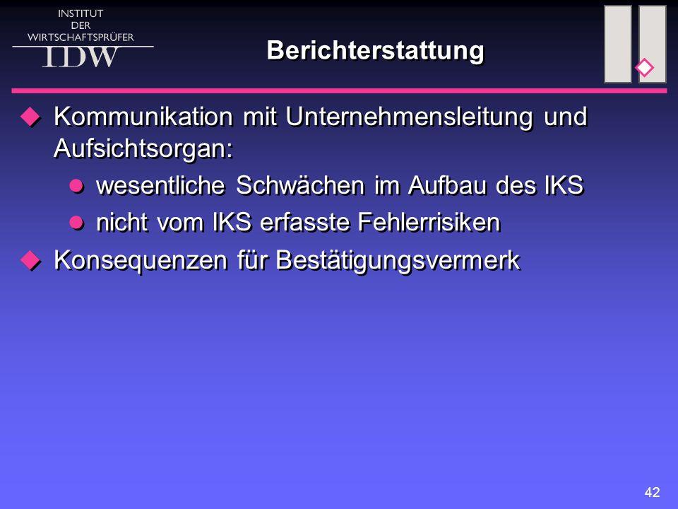 42 Berichterstattung  Kommunikation mit Unternehmensleitung und Aufsichtsorgan: wesentliche Schwächen im Aufbau des IKS nicht vom IKS erfasste Fehler