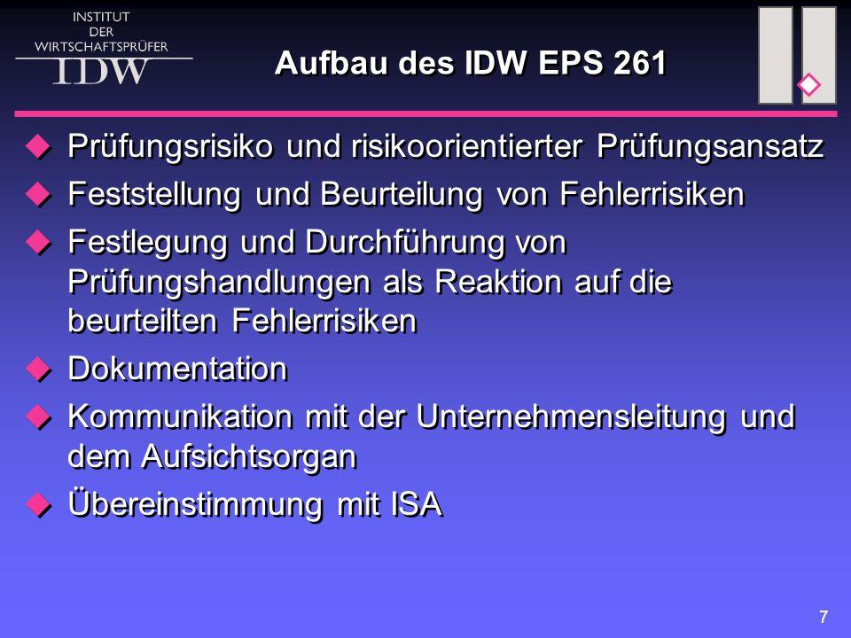 7 Aufbau des IDW EPS 261  Prüfungsrisiko und risikoorientierter Prüfungsansatz  Feststellung und Beurteilung von Fehlerrisiken  Festlegung und Durc