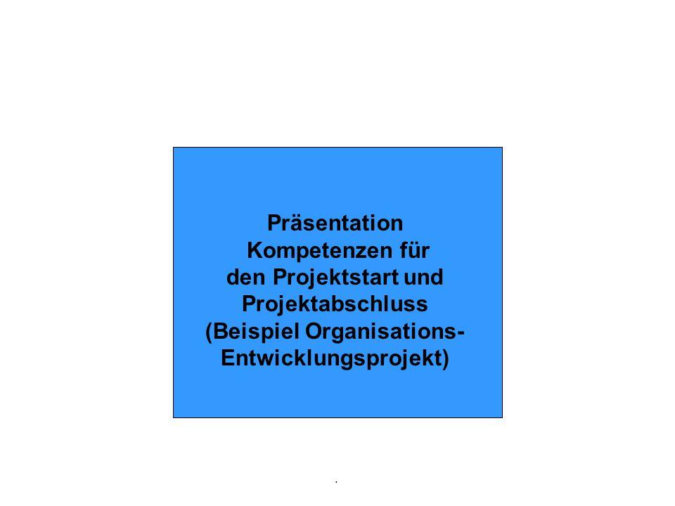 . Präsentation Kompetenzen für den Projektstart und Projektabschluss (Beispiel Organisations- Entwicklungsprojekt)