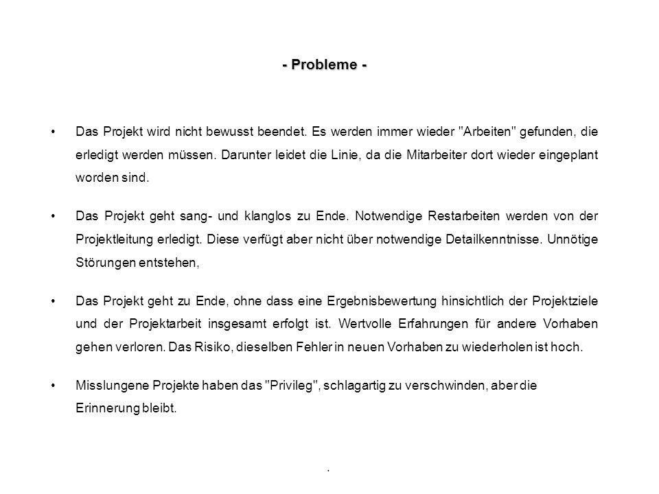 . - Probleme - Das Projekt wird nicht bewusst beendet. Es werden immer wieder