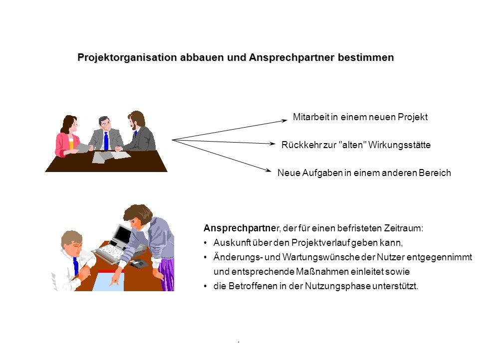 . Projektorganisation abbauen und Ansprechpartner bestimmen Rückkehr zur