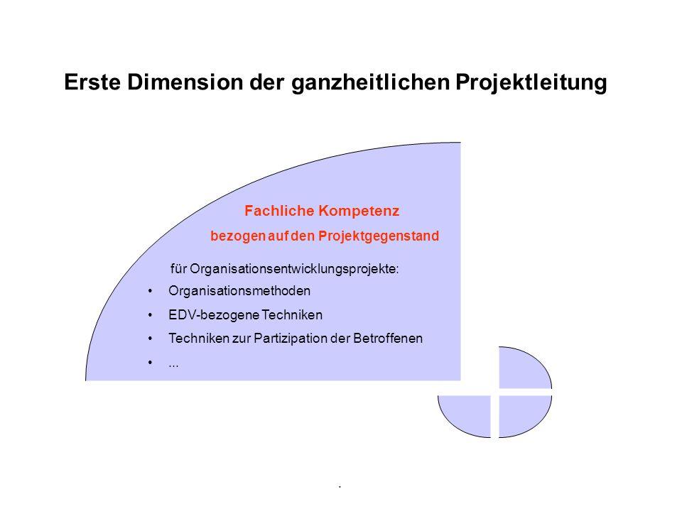 . Erste Dimension der ganzheitlichen Projektleitung Fachliche Kompetenz bezogen auf den Projektgegenstand Organisationsmethoden EDV-bezogene Techniken