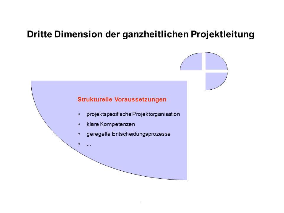. Dritte Dimension der ganzheitlichen Projektleitung Strukturelle Voraussetzungen projektspezifische Projektorganisation klare Kompetenzen geregelte E