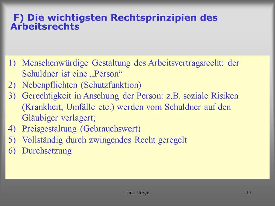 """Luca Nogler11 F) Die wichtigsten Rechtsprinzipien des Arbeitsrechts 1)Menschenwürdige Gestaltung des Arbeitsvertragsrecht: der Schuldner ist eine """"Per"""