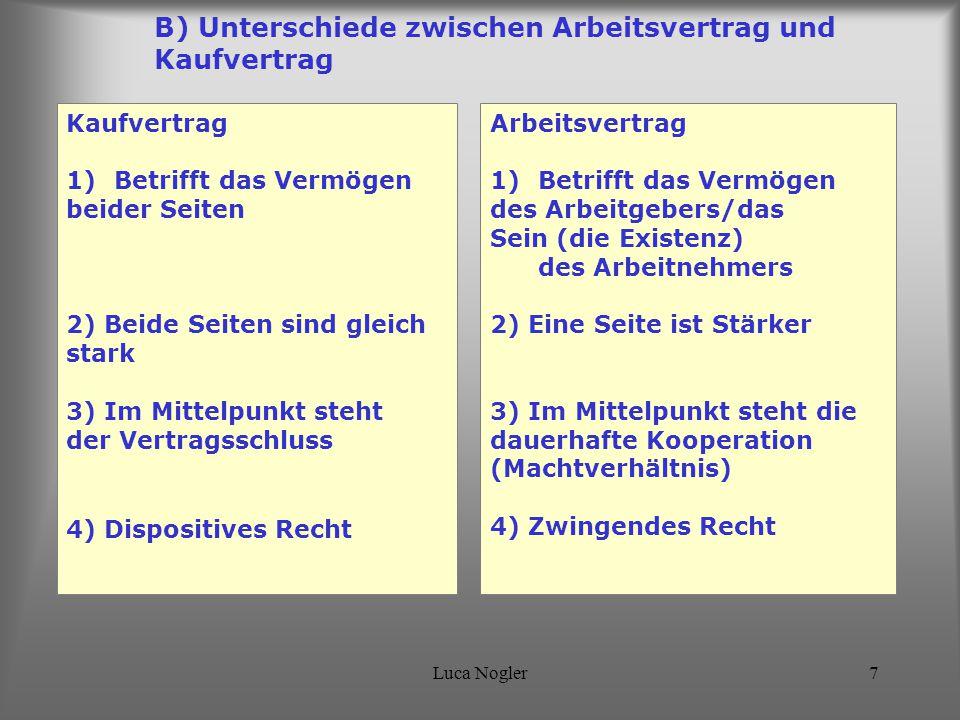 Luca Nogler7 B) Unterschiede zwischen Arbeitsvertrag und Kaufvertrag Kaufvertrag 1)Betrifft das Vermögen beider Seiten 2) Beide Seiten sind gleich sta