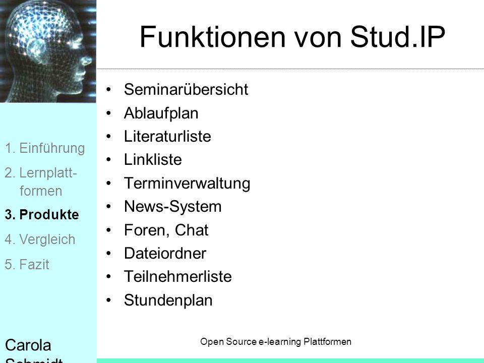 Open Source e-learning Plattformen Carola Schmidt Funktionen von Stud.IP Seminarübersicht Ablaufplan Literaturliste Linkliste Terminverwaltung News-Sy