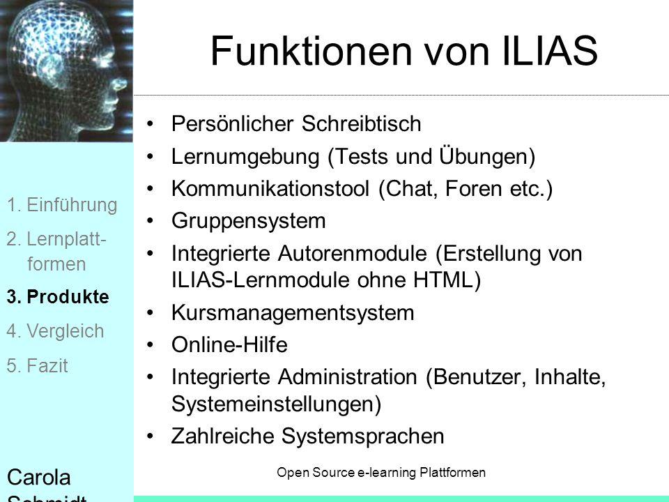 Open Source e-learning Plattformen Carola Schmidt Funktionen von ILIAS Persönlicher Schreibtisch Lernumgebung (Tests und Übungen) Kommunikationstool (